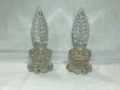 Pair of TWO Vintage Glass Perfume Vanity Bottles with Tall Elegant Stoppers