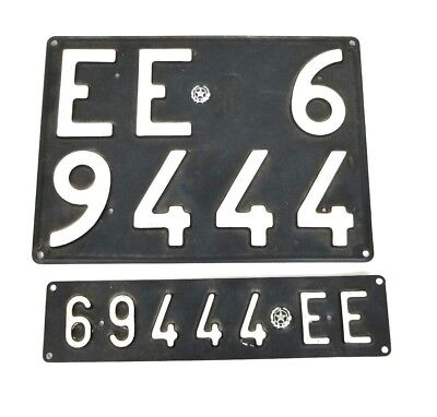 Italy Temporary Vintage Matching Front & Rear License Plates 69444EE 1970's