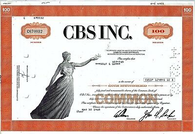CBS Inc., (Columbia Broadcasting System), 19680 (100 Shares )