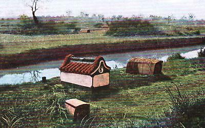 China Chinese Graves in the countryside - old postcard written 1909