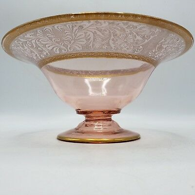 Vintage Cambridge or Central Glass Works Pink Console Bowl w/ Gold Decorated Rim
