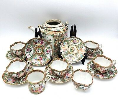 Large Lot Antique Chinese Famille Rose Medallion Tea Cups, Saucers & Teapot