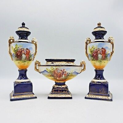 Vintage Pair of Czechoslovakia Urns & Low Bowl - Cobalt Blue & Painted Scenes