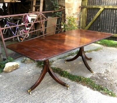 Regency Style Solid Mahogany Dining Table With One Leaf