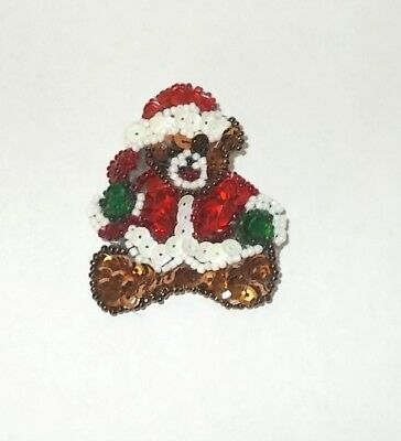 Vintage 1990s Christmas Teddy Bear w Sequins & Mini Beads-Hand Crafted-Darling