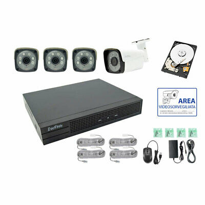 Kit Videosorveglianza Ip Poe 4 Canali Nvr 2 Mpx H264 Cloud Hd 500 Gb