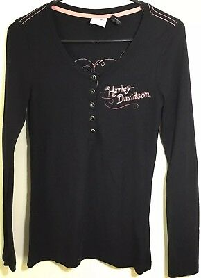 Harley-Davidson Size Med Black Thermal Womens Long Sleeve Shirt Sequined Wings