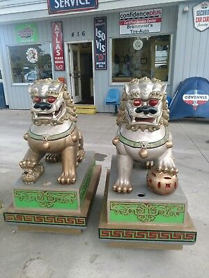 Chinese Foo Fu Dogs Antiques Statues Restaurant Very Large 4.5 Ft X 3 Ft X 2 Ft