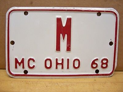 Vintage 1968 Ohio Motorcycle Scooter License Plate