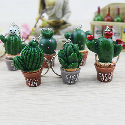 Metal Cactus Keyring Keychain Charm Pendant Bag Purse Car Key Decor Gift