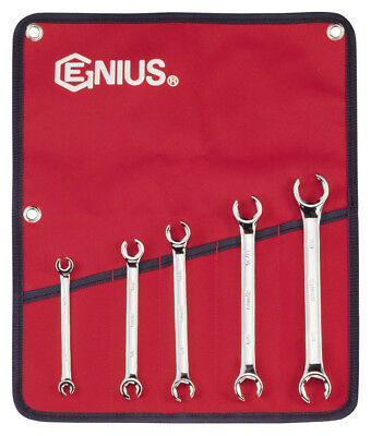 Genius Tools 5pc SAE Flare Nut Wrench Set FN-005S (mirror finish)