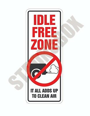 Automotive Environmental Safety ADHESIVE DECAL - NO IDLING - IDLE FREE ZONE
