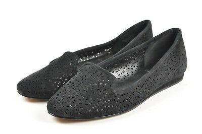 503b60442de VINCE CAMUTO LANTA Black Laser Cut Nubuck Leather Smoking Loafer ...