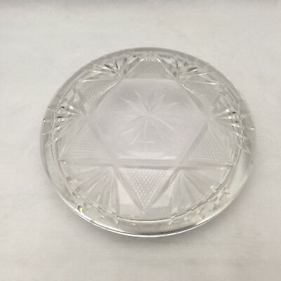 "Antique 5"" Round Cut Glass Lid Powder Jar/ Trinket Dish Fan or Pineapple & Star"