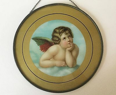 "Antique FLUE COVER Litho Cherub Angel on Cloud Reverse on Glass 7 7/8"" ExC"