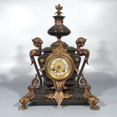 Antique French Clock, Japy Frères, Napoleon III, Second Empire, Sphinx, Lion