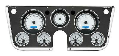 Dakota Digital 67-72 Chevy Truck VHX Analog Gauges Silver Alloy Blue w/ Carrier