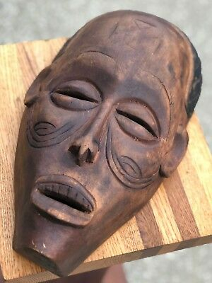 "Antique 13"" Authentic Indonesia Borneo Dayak Kalimantan Ceremonial Death Mask"