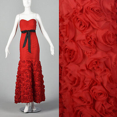 Small Strapless Pleated Gown Red Long Dress VTG Rosettes Mermaid Sweetheart Neck