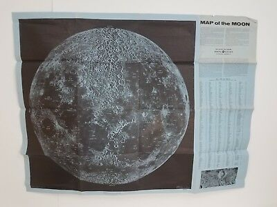 Vintage 1959 Large Map of the Moon General Electric Missle Space Department