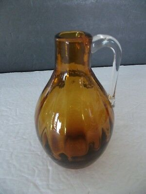 "Vintage Amber Hand Blown Glass Pitcher with Applied Clear Handle 4"" Tall Art"