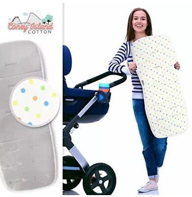 Coney Island Cotton Stroller Pad Universal Size, Breathable Support Cushion NEW