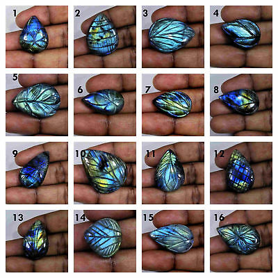 FREE SHIPPING!! AA++ Labradortie Carving Pear Shape Loose Gemstone Cabochon