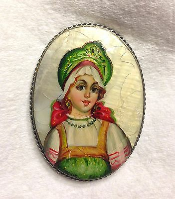 SALE- Antique Russian Fedoskino Hand Painted Russian Girl Brooch Pin- Stunning!