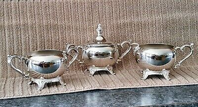 Vintage Wm Rogers SilverPlate 4-pc Footed Sugar & Creamer Set w/Lid & Extra Bowl