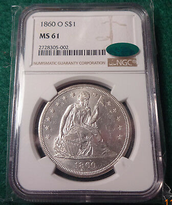 1860 O Seated Liberty Silver Dollar NGC & CAC MS61 - K951