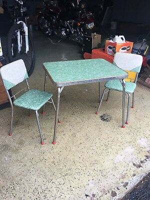 1950s Retro Vintage Childs Table Set Formica Chrome Grn Wht Jessar Mfg Corp.