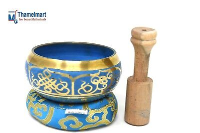 """Exquisite 4"""" Tibetan Singing Bowl Made in Nepalwith Wooden mallet by thamel Mart"""
