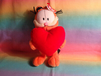 """Ty Beanie Baby Garfield Holding Big Red Heart with Tags 8"""""""