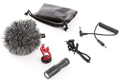 Movo VXR10GY Universal Video Microphone with Shock Mount, Deadcat Windscreen, Ca