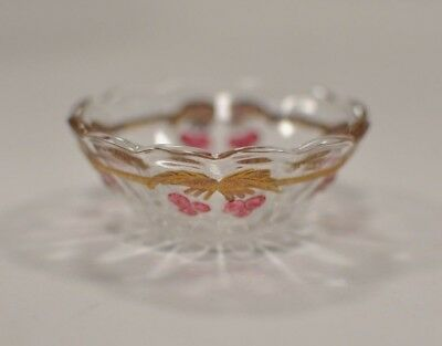 Vintage Mosser glass Cherry Thumbprint Cable Berry Bowl Miniature