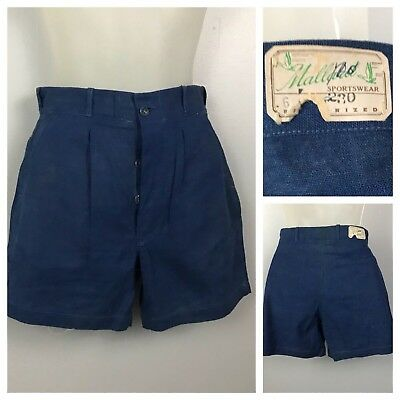 Vintage NOS Deadstock 1930s 1940s Dark Blue Cotton Pleated Shorts XS