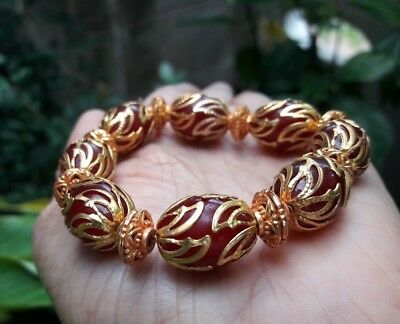 Afghan Beautiful Brown Beads Bracelet  Brass  Islamic Style Stunning