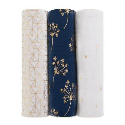 NEW aden + anais  3 Pack Classic Swaddles - Metallic Gold Dandelion