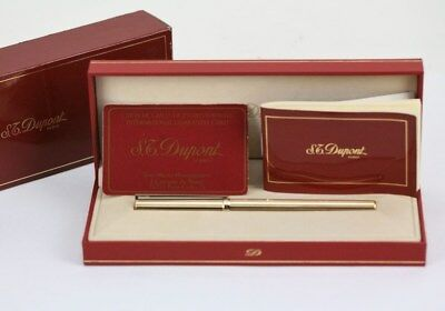 S. T. Dupont Classique Gold Plated Fountain Pen With 18K Solid Gold Nib M - Mint
