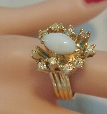 1970  Gold Electroplate Ring W, Natural Australian Opal Size 8