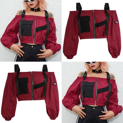 Womens Wine Red Hip Hop Cold Shoulder Zipper Evening Party Casual Loose Tops