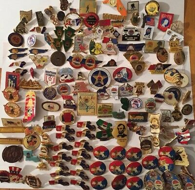 145 Vintage AMVETS American Veterans Lapel Pin Lot:Pins from around the Country