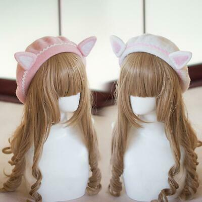 416d34879b15f Vintage Girls Lolita Beret Wool Cat Ears Handmade Solid Painter Aritist Hat  Cap