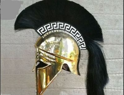 New Armour Medieval Greek Corinthian Armour Helmet Black Plume Knight Spartan