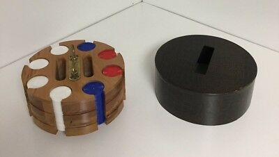 Vintage Wood Poker Chip Caddy Turn Table Round Chips And Card Holder
