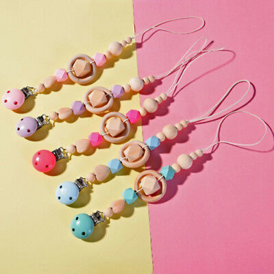 Baby infant wooden beaded pacifier holder clip nipple teether dummy strap chain&