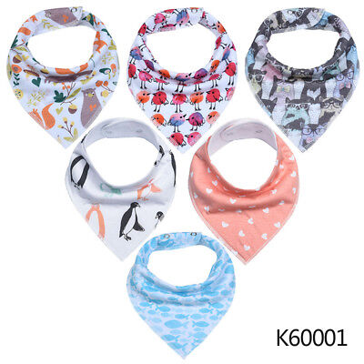 Baby Adjustable Bandana Bibs 6-pack Unisex Cotton Gift Set for Teething Drooling