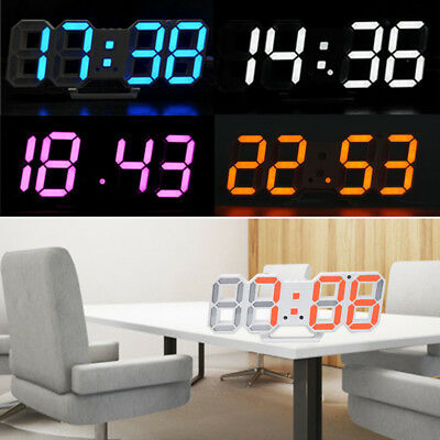 Fashion LED Large Digital Numbers Table Wall Clock 3D Display Alarm Snooze Clock