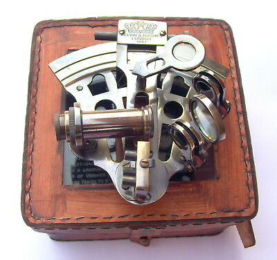 """Marine Black Antique Solid Brass 5"""" Sextant - Nautical Ship Instrument With Box"""