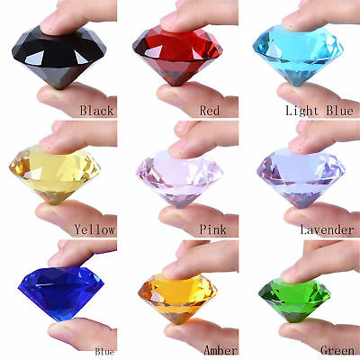 New 40mm Crystal Paperweight Cut Glass Giant Diamond Shape Jewel Decor Gift